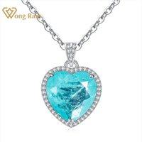 Wong Rain 925 стерлингового серебра 925 создал Moassanite Paraiba Tourmaline драгоценные камни алмазы кулон ожерелье изысканные украшения оптом 210315