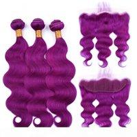 바디 웨이브 인간의 버진 브라질 머리카락 확장 보라색 인간의 머리카락 번들 13 * 4 정면 여성을위한