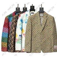 Western Stil Kleidung Mix Stil 2021 Designer Herbst Luxus Herren Blazers Outwear Mantel Slim Fit Casual Tier Grid Geometrie Patchwork Drucken Männliche Mode Kleidanzug