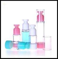 Crema de loción botellas sin aire 15ml 30ml 50 ml de vacío de estiércol de sérico de sérico de cilindro de plástico de plástico blanco y bomba verde