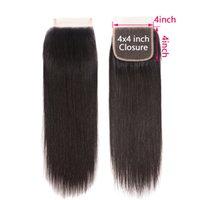 Pièce 4 * 4 Fermeture Main Tissu de dentelle en dentelle Hu Perruque de cheveux