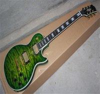 Top Qualité Custom Custom Shop LP Custom Shop Quilt Top / Iguana Burst Ebony Touche Touche P90 Pickup Guitare électrique