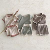 Ins Kore Avustralya Kalite Bebek Çocuk Giyim Setleri Örme Yaz Tops Ile Şort 2 Adet Kıyafetler