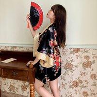 Jiuai amusant sous-vêtements imprimé double cou trois pièces Japane Kimono peignoir Pajama Uniforme Temptation Ensemble