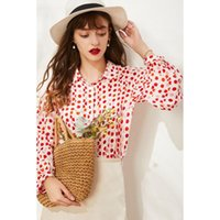 Women's Blouses & Shirts Pure Silk Long Lattern Sleeve Shirt 100% Mulberry Top Women Red Polka Dot Blouse M L XL