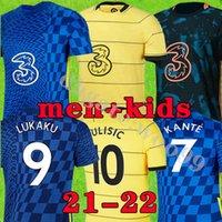 تايلاند 21 22 Lukaku Werner Havertz Chilwell Ziyech Soccer Jerseys 2021 2022 Pulisic Home أزرق أزرق أصفر كرة القدم قميص Kante Mount Men + Kids Set Kits