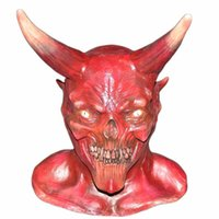 Halloween Costume Horror Party Cosplay Demon Demone Latex Spaventoso Horns Red Devil Mask