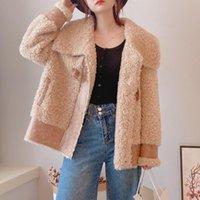Women's Fur & Faux Fashion Sheep Shearing Coat Jackets Women Real Wool Grain Lamb Integrated Overcoats Big Collar Thick Warm Winter Outwear