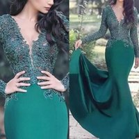 Luxury Arabic Arabic Emerald Green Lace Mermaid Evening Dresses Sheer Long Sleeves Satin Applique Ruched Long Formal Prom Party Gowns