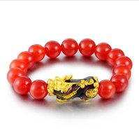 Link, Chain Hi Red Beads Unisex Temperature Transform PI Xiu Bracelet 24k Gold Hand Party Friend Birthday Gift Fine Jewelry