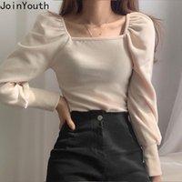 Joinyouth толстых бархатных рубашек для женщин квадратный воротник Slim fit blouses сладкий слоеный рукав женские топы корейский модный блузка 210315