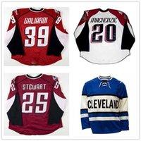 ABN Custom Ahl Cleveland Lago Erie Monsters 25 Stewart 20 Mackenzie 39 Galiardi Hóquei Jerseys Vermelho Branco Azul Costurado Logos Tamanho S-4XL
