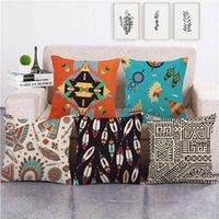 미국 종족 인도 아즈텍 패턴 기하학적 디자인 던지기 쿠션 커버 린넨 / 코튼 소파 베개 커버 장식 베개 케이스