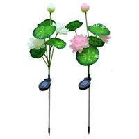 Flores decorativas grinaldas 3 cabeças flor artificial lâmpada de lótus solar ao ar livre jardim à prova d 'água paisagem lâmpadas para luzes da noite em casa
