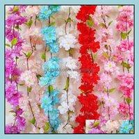 Other Event Festive Supplies & Gardensakura Cherry Vine Wedding Decoration Rattan Flowers Home Party Decor Silk Ivy Wall Flower Hanging Wrea