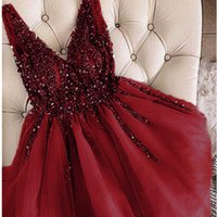 Gorgeous Deep V Neck See Through Full Beaded Top Tulle Short Prom Dress Homecoming Dresses H0916