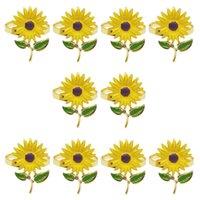Napkin Rings 10Pcs Lot Ring Sunflower Button Zinc Alloy Towel Wedding Table Decoration