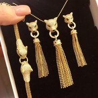 Marca caliente PURE 925 Joyería de plata esterlina para las mujeres Juego de joyería de la boda Panther Leopard Collar Pendiente Pulsera Pulsera Set