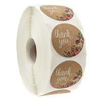 500pcs redondo rótulos Handmade Kraft Papel Embalagem Etiqueta Doces Drageas para Casamento Flor Caixa De Presente Bolsa De Embalagem Thanks Adesivos