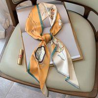 Sciarpe 2021 Sciarpa di seta di alta qualità Sciarpa Sciarpa Donna Cravatta Donna Neckscarf Bag Nastro Lungo stretto collo cravatta