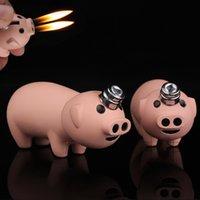Nouveau Creative Créatif Petit Piggy Jet Briquet Butane Pig Butane gonflé Dual Buses Gratuit Fire Fire Briquet Métal Jouets Funny Jouets Pas de gaz