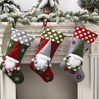 Bas de Noël tricoté Santa Gnome Doll Santa Gnome Chaussettes Noël Candy Cadeau Sac Arbre Pendentif Accueil Décor Agneau Laine Trois-Dimensionnelle GWF8979