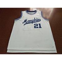 21s Memphi White # 21 Larry Finch Home Retro White Mesh Stoff Full Stickerei Größe S-4XL oder benutzerdefinierte Jedes Name oder Nummer College Jersey