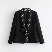 Women's Suits & Blazers ASDS Women Vintage Autumn Wear Sweet Style Polka Dots Thin Scarf Adorn Small Suit Jacket WWT52721