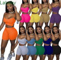 Femmes Summer Outfits Designer Deux Morceau Top Top Shorts Sports Solides Sports Sports Sexy Femme Chaud Panches Panneau Jogging Costume 2021