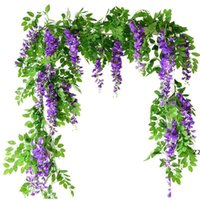 7ft 2m Flower String Artificial Wisteria Vine Garland Plants Foliage Outdoor Home Trailing Flower Fake Hanging Wall Decor HWF10883