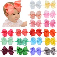 Big Bow Baby Hairband 20 Colors Infant Girls Solid Ribbon He...