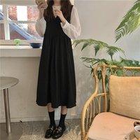Casual Dresses Slim Dress Early Autumn Fashion Korean Women's 2021 French Temperament Hepburn Back Belt Small Black
