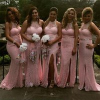Sweet Pink Lace Bridesmaid Dresses Mermaid Split Front Halter Neck Maid Of Honor Wedding Party Gowns 2022 Formal Guest Evening Dress