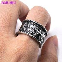 Cluster Rings AMUMIU Fiver Corner Pentagram Star Of David Ring For Women Men Retro Hexagram Hip Hop Punk Vintage Satan Male Jewelry R057