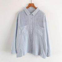 Camisas Blusas para mujer 2021 Otoño Mujer Blusa Japón Estilo Mori Chica Pleaciones de órgano Perden el hilo de algodón doble Cuello de rurnga de manga larga SHI