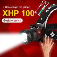 HEDELI XHP100 IR Sensore IR Sensore LED Headlamp 18650 USB Headlight ricaricabile Faro principale impermeabile testa lanterna Torcia XML T6 Luci Testa