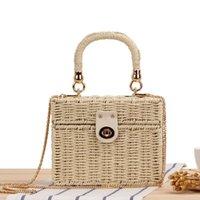 Clutch Bags Casual Woven Small Box Straw Beach Bag For Women 2021 Luxury Handbags