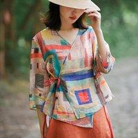 Summer Arts Style 3 Womens Shirts 4 Sleeve Loose Vintage Print V Neck Cotton Linen Blouses Plus Size Femme Blusen