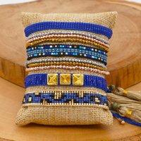 سحر أساور go2boho اليد المنسوجة للنساء هدية مجوهرات 2021 الأزياء miyuki مطرز مجوهرات ملونة الأزرق بذور الخرزة الكريستال سوار