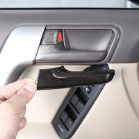 4pcs Garniture de porte intérieure en plastique en plastique de grain en bois noir pour Toyota Land Cruiser Prado FJ150 150 2010-2018 Modèles Accessoires
