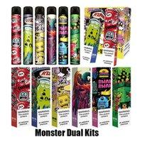 Autentyczne Monster Dual Jednorazowe zestawy urządzeń 2000 Papturzy przedpełniony 6ml 2 w 1 Pod Kit Vape Pen Oryginalny vs Bar Plus