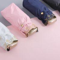 Umbrellas Smart Pocket Umbrella Mini Super Light Embroidery UV Folding Small Plegable Sombrilla Bolsillo