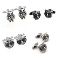 10pairs lot Cute Animal Cufflinks Black Purple Rhinestone Eye Owl Cuff Links Mens Jewelry Accessory Fashion Gift Whole