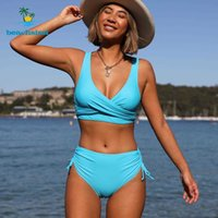 Badebekleidung Beachsissi 2021 Sommer Multicolor Bikini Set Frauen Badeanzüge Sport Twist Front Powing Beachwear Badeanzug
