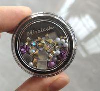 Miralash 3D 네일 라인 스톤 스톤 손톱 곡선 엉망으로 혼합 된 다채로운 데칼 결정 네일 아트 DIY 디자인 장식