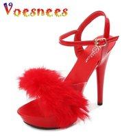 Voesneas New Sexy Mujeres Sandle Plataformas Altas Tacones Altos 13 cm Summer Transparente Piel Zapatos Tacones Sandalias Tacones delgados Zapatos de boda
