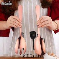 Bisda Big Salad Spoon Fourchette 18/10 En acier inoxydable Coloré Salad Forms Server Couverts de couverts Couverts de couverts Matériels de pâtes Outils OEM 201017