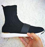 Femmes Black Slip-On Sneaker Bottes Stretch Textile Designer Lady Star Sentier Chaussette Strap Strap Upper Lost Strap occasionnel