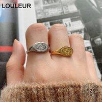 LOULEUR Heißer Verkauf S925 Sterling Silber Ring Für Frauen Minimalist Mond und Sonne Einstellbar Open Ring Silber Luxus 925 Fine Schmuck 210310