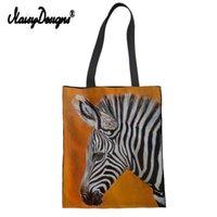 Сумки для покупок Зебра Женская женщина многоразовые хлопковые продуктовые сумки сумки холст Tote Webshop Eco складная ничья строка